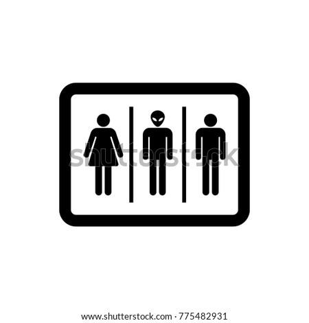 Bathroom Sign Woman Man Alien Vector Stock Vector Royalty Free Interesting Bathroom Sign Vector