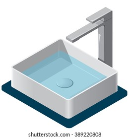 Bathroom sink. Isometric basin with tap and water. Kitchen interior info graphic element on white. Illustration household article. Pictogram domestic cleaner set. Flatten isolated master vector.