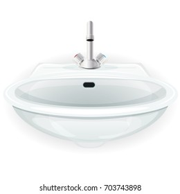 Bathroom Sink With Tap/ Illustration of a white cartoon domestic home sink, with tap, for furniture of toilet, kitchen or bathroom, isolated on white