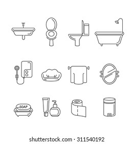 Bathroom stuffs linear icons, healthy, hygiene, cleanness, product, home decoration, household, objects