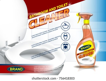 Bathroom and toilet cleaner adv spray bottle