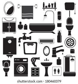 Bathroom and toilet icons set, black isolated on white background, vector illustration.