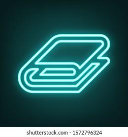 Bathroom towel sign. Cyan neon icon in the dark. Bluring. Luminescence. Illustration.