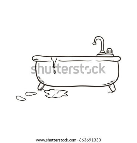 Bathroom Tub Draw Stock Vector Royalty Free 663691330 Shutterstock