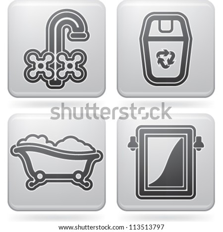 Bathroom Utensils Other Related Everyday Things Stock Vector