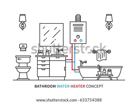 Bathroom Water Heater Geyser Vector Illustration Stock ...