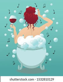 Bathtime. The girl takes a bath with music and a glass of wine. Time for spa. Colorful vector illustration.
