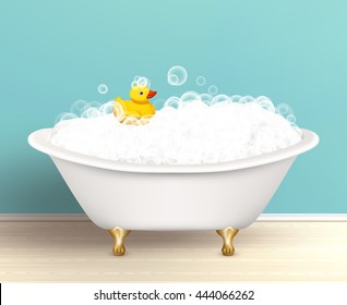 Bathtub cast a shadow on bathroom poster with foam and yellow rubber duck colored vector illustration