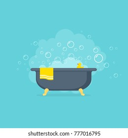 Bathtub with foam bubbles and yellow rubber duck. Vector illustration