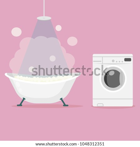 Bathtub Full Of Foam With Bubbles And Home Washing Machine Isolated On  Background. Bath And