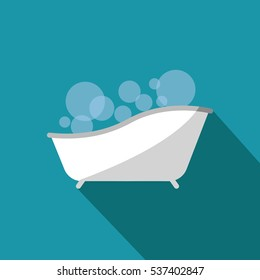 a bathtub icon with a bubbles illustration isolated in a blue background