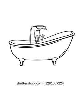 Bathtub icon for house plumbing. Outline vector illustration