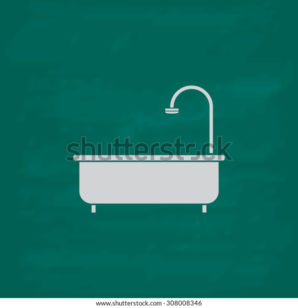 Bathtub. Icon. Imitation draw with white chalk on green chalkboard. Flat Pictogram and School board background. Vector illustration symbol