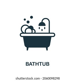 Bathtub icon. Monochrome sign from bathroom collection. Creative Bathtub icon illustration for web design, infographics and more