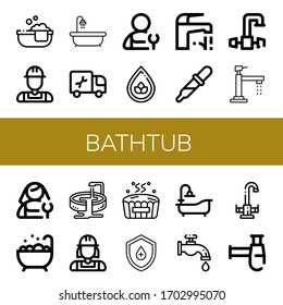 bathtub icon set. Collection of Bathtube, Plumber, Hot tub, Drop, Faucet, Jacuzzi, Bathtub, Siphon icons