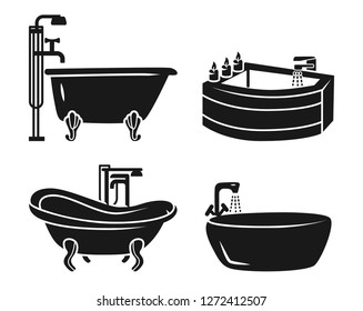 Bathtub icon set. Simple set of bathtub vector icons for web design on white background