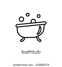 bathtub icon. Trendy modern flat linear vector bathtub icon on white background from thin line Hotel collection, outline vector illustration