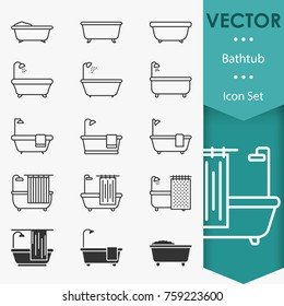 Bathtub icons vector in trendy flat style