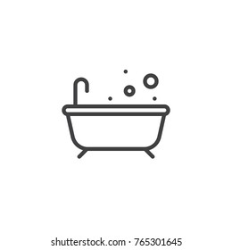Bathtub line icon, outline vector sign, linear style pictogram isolated on white. Bath with bubble symbol, logo illustration. Editable stroke