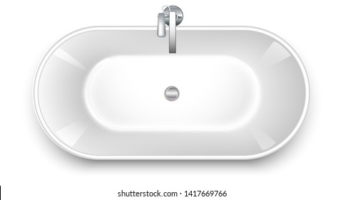 Bathtub in the shape of a bowl. Top wiew. Mixers of water taps. Realistic style Isolated on white background. Vector illustration.