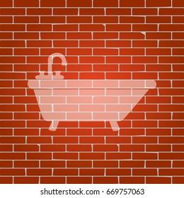 Bathtub sign illustration. Vector. Whitish icon on brick wall as background.