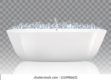 Bathtub with soap bubbles. Vector realistic illustration isolated on transparent background.