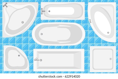 Bathtub Top View CollectionVector Illustration In Flat Style Set Of Different Tubs Types