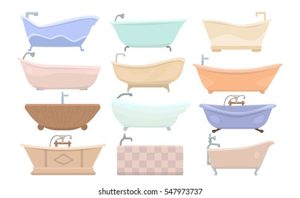 bathtubs of different style and shape set isolated on white background vector illustration