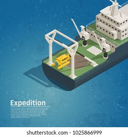 Bathyscaphe diving equipment for underwater exploration tests discoveries on board expedition ocean vessel isometric composition vector illustration