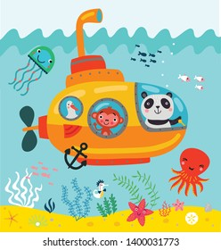 Bathyscaphe. Sea walk. Cute illustration