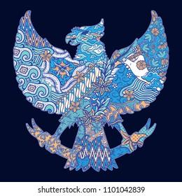 batik culture on garuda silhouette illustration