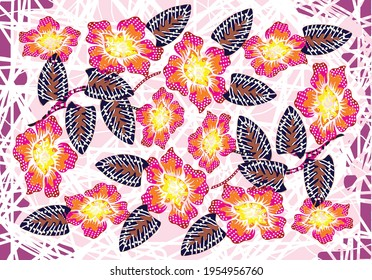 Batik floral pattern, flowers and leaves. Oriental traditional hand painted, seamless print. Vektor EPS 10