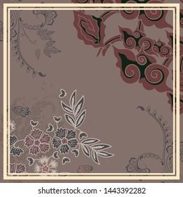 Batik mega mendung java floral brown