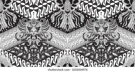 Batik motif repeated pattern of Java Indonesia seamless pattern hand drawing full black and white