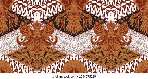Batik motif repeated pattern of Java Indonesia seamless pattern hand drawing full brown white and black