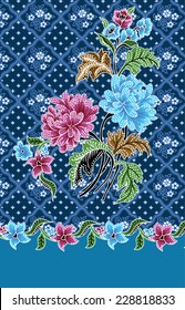 Batik pattern on blue background.