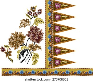 Batik pattern.Beautiful art background design fabric vintage on brown.