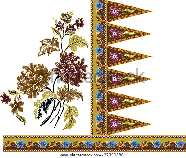 Batik Patternbeautiful Art Background Design Fabric Stock