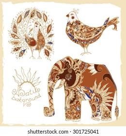 Batik set of tribal animals