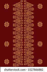 Batik Songket Pattern Vector Stock of  Indonesian, Sumatera Island, Traditional Village with Flower Motive - Vector