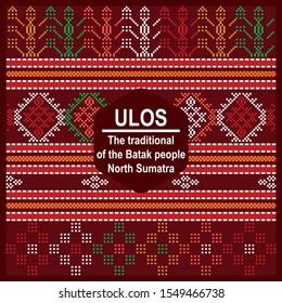 Batik Ulos Traditional Batak North Sumatra Vector. Batik Ulos is the traditional cloth of the Batak people of North Sumatra - Indonesia