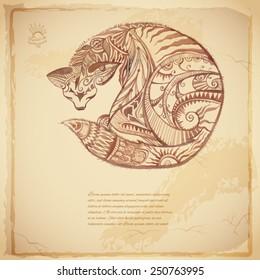 Batik vector tribal background with cat