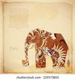 Batik vintage background with elephant