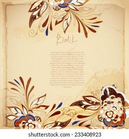 Batik vintage floral background