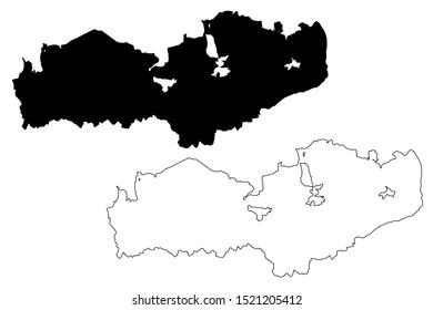 Batken Region (Kyrgyz Republic, Kirghizia, Regions of Kyrgyzstan) map vector illustration, scribble sketch Batken map