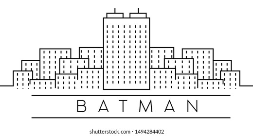 Batman city outline icon. Elements of Turkey cities illustration icons. Signs, symbols can be used for web, logo, mobile app, UI, UX on sky background