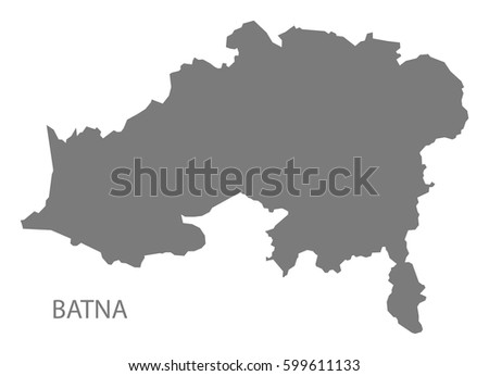Batna Algeria Map Grey Illustration Silhouette Stock Vector (Royalty ...