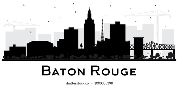 Baton Rouge Louisiana City Skyline Silhouette with Black Buildings Isolated on White. Vector Illustration. Travel and Tourism Concept with Modern Architecture. Baton Rouge USA Cityscape with Landmarks