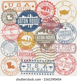 Baton Rouge Louisiana Set of Stamps. Travel Stamp. Made In Product. Design Seals Old Style Insignia.