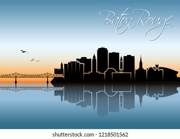Baton Rouge skyline - Louisiana, United States of America, USA - vector illustration